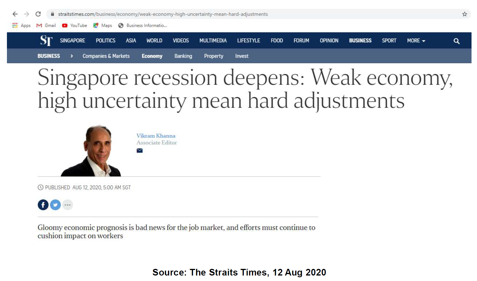 Singapore is entering recession in 2020 due to covid-19